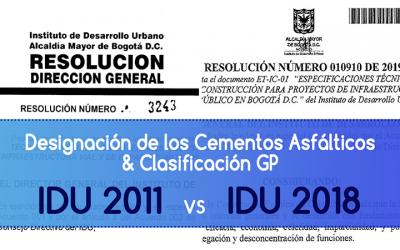 Comparativo Especificaciones Técnicas IDU 2011 vs 2018